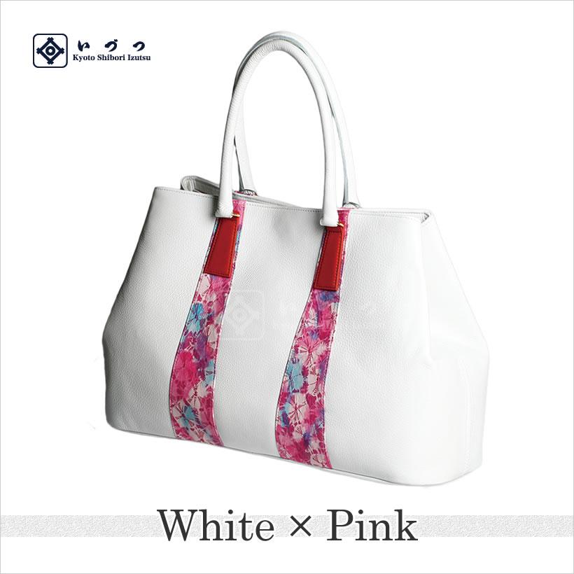 花絞りショルダーバッグ ホワイト×ピンク画像